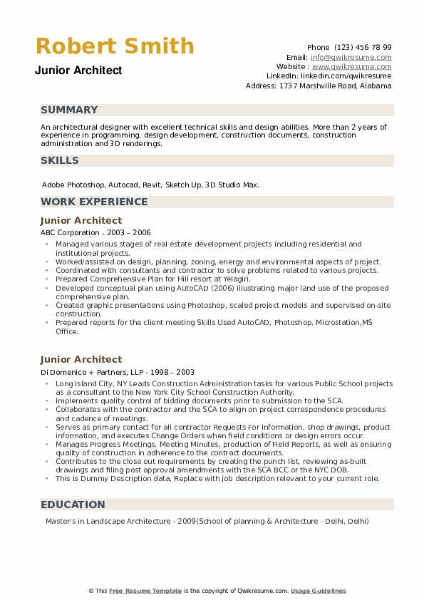 Junior Architect Resume example