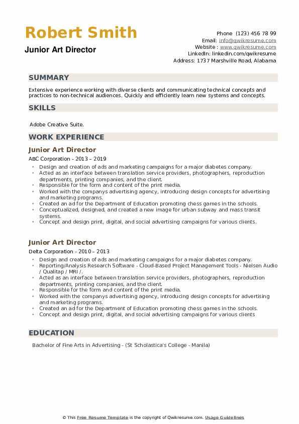 Junior Art Director Resume example