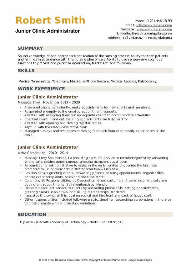 Junior Clinic Administrator Resume example