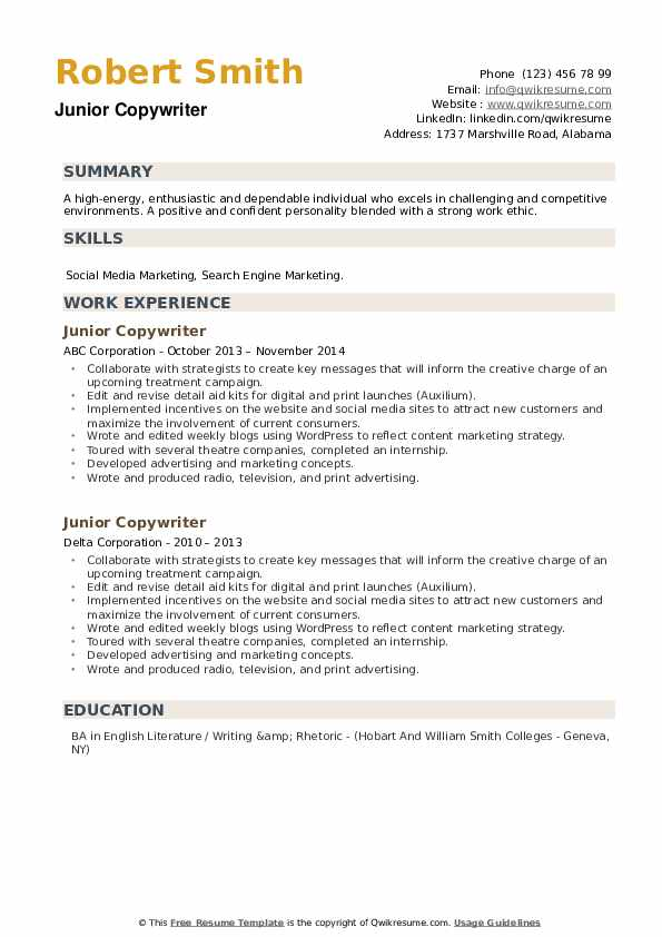 Junior Copywriter Resume example