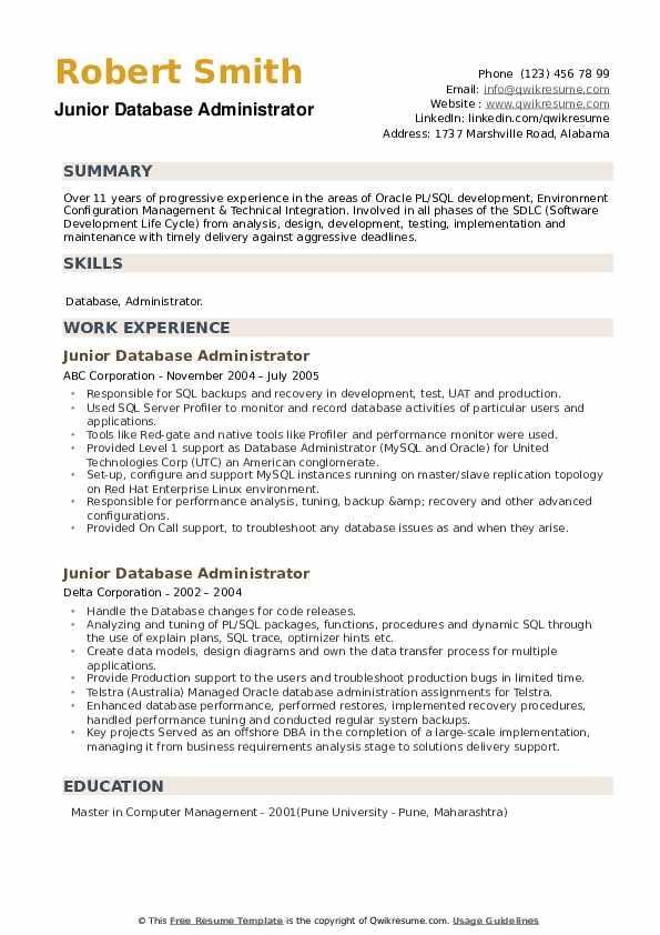 Junior Database Administrator Resume example