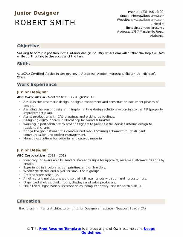 Junior Designer Resume Samples Qwikresume