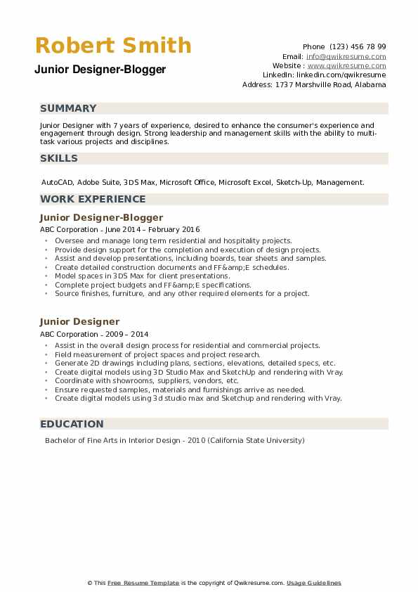 intermediate interior designer job description examples