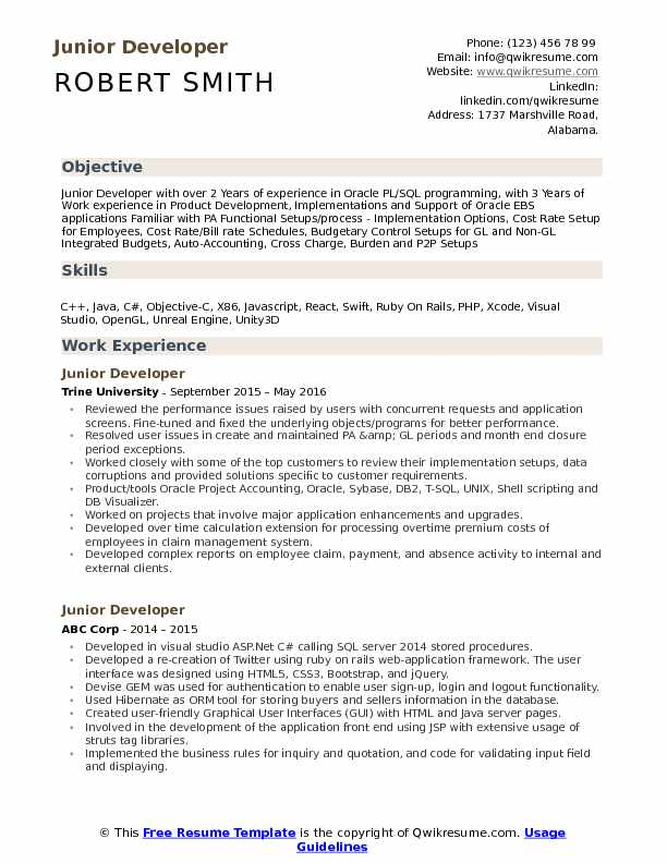 Junior Developer Resume Sample