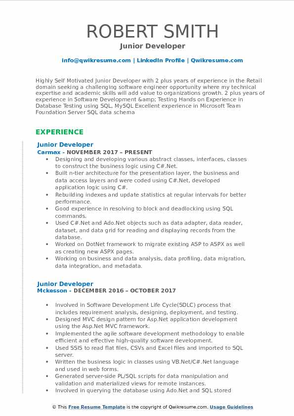 Junior Developer Resume Template