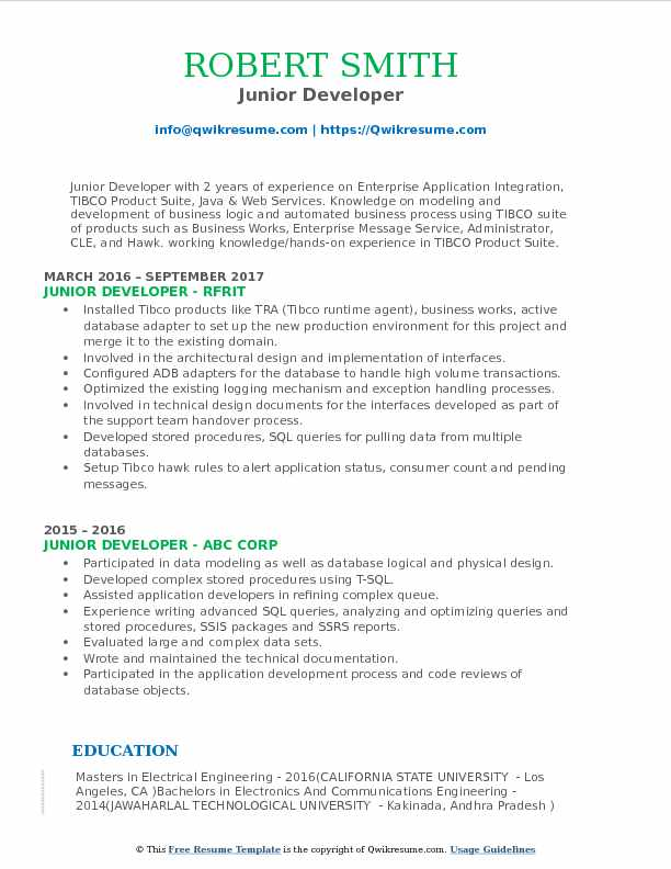 Junior Developer Resume Model