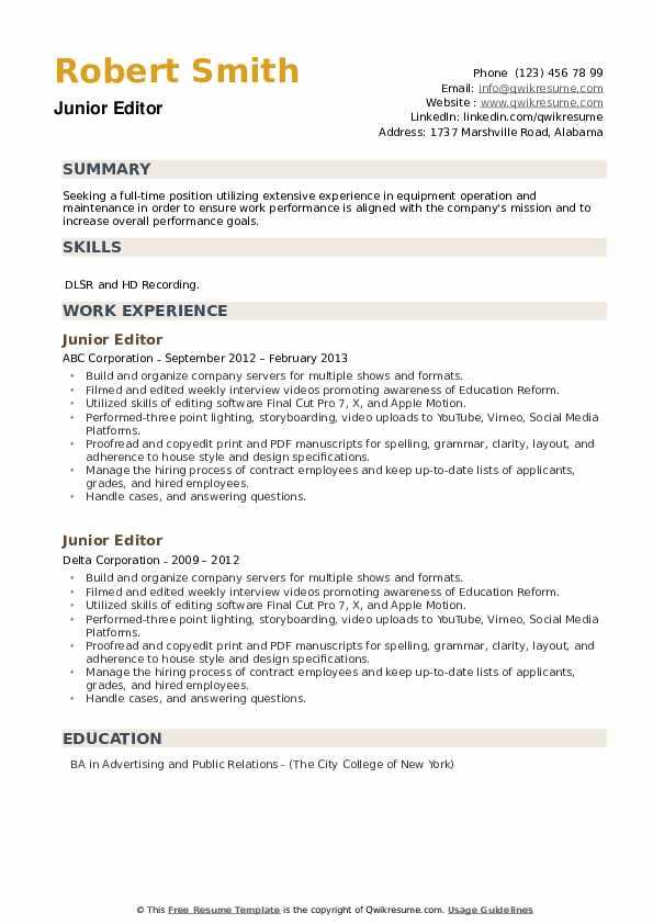 Junior Editor Resume example