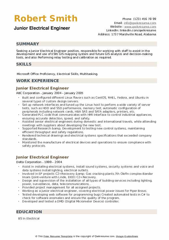 Junior Electrical Engineer Resume example