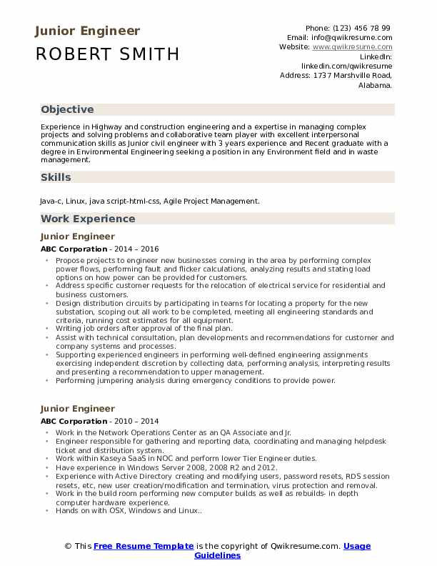 Junior Engineer Resume Model