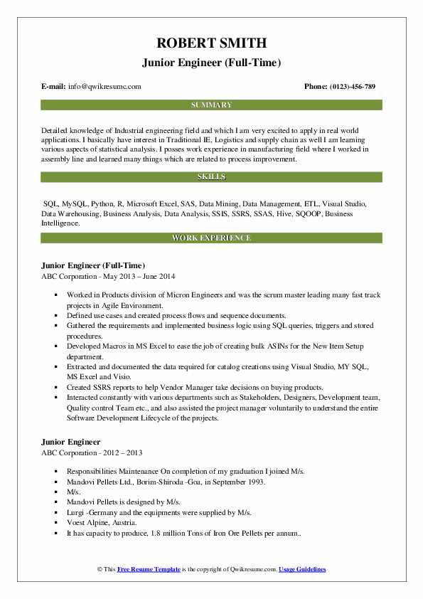 Junior Engineer (Full-Time) Resume Format