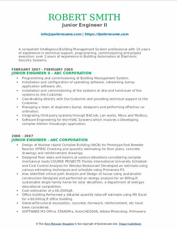 Junior Engineer II Resume Template