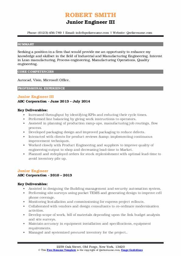 Junior Engineer III Resume Format