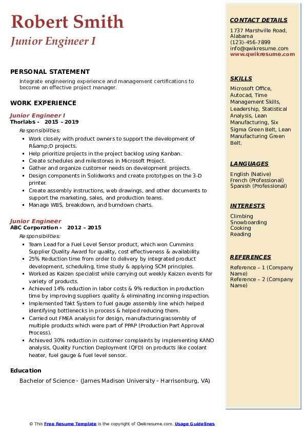 Junior Engineer I Resume Format