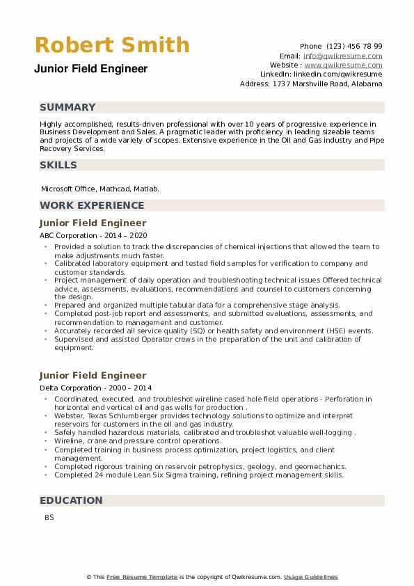Junior Field Engineer Resume example