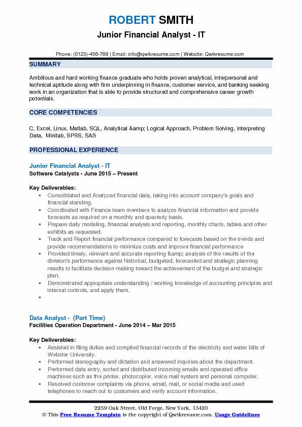 Junior Financial Analyst Resume Samples | QwikResume