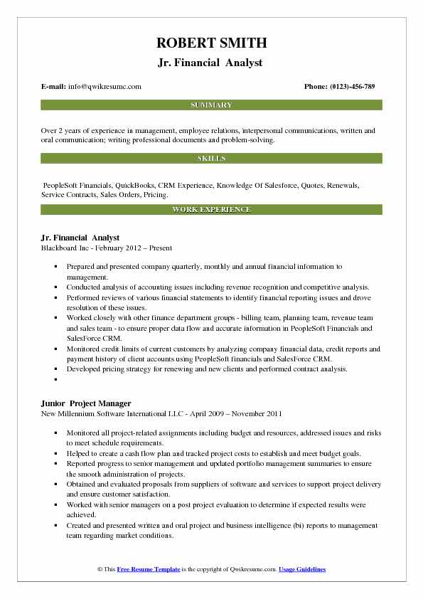 Jr. Financial Analyst Resume Format