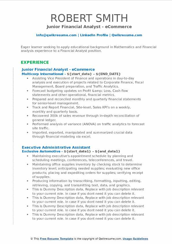 Junior Financial Analyst - eCommerce Resume Model