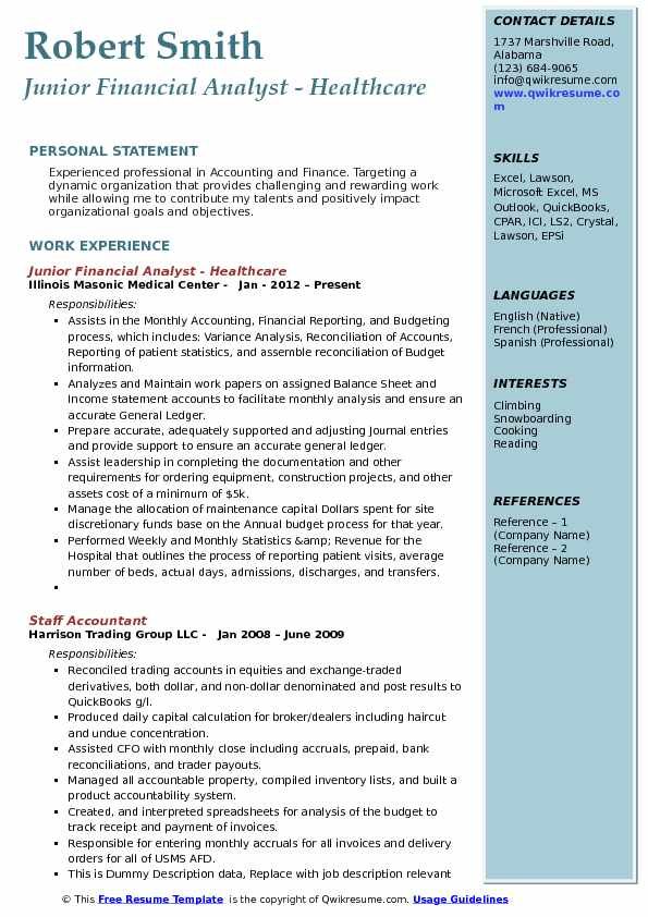 Junior Financial Analyst - Healthcare Resume Template