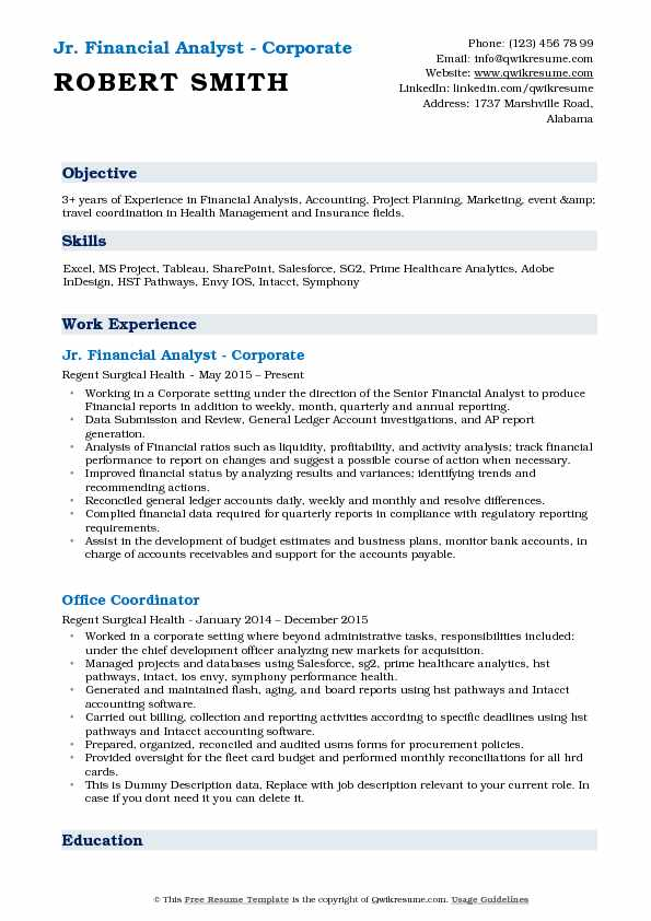 Jr. Financial Analyst   Corporate Resume Example