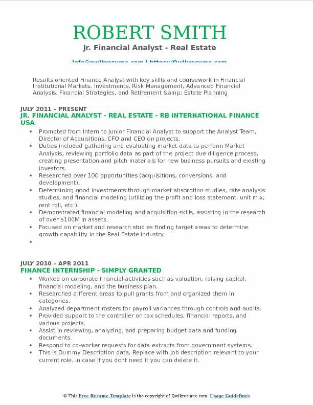 Jr. Financial Analyst - Real Estate Resume Format