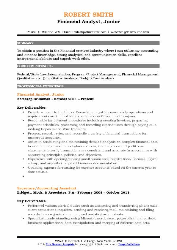 Financial Analyst, Junior Resume Format