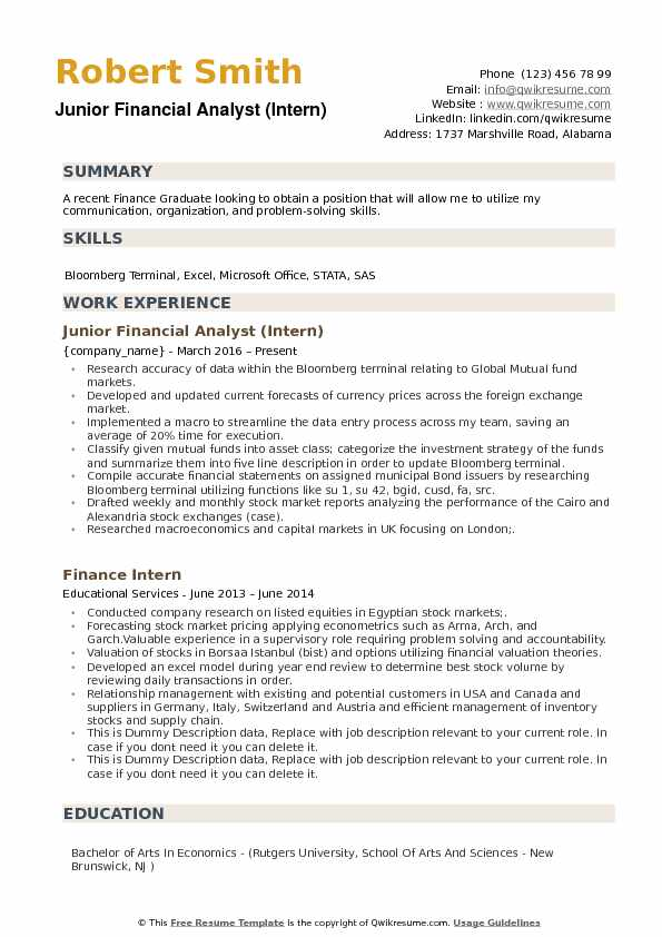Junior Financial Analyst (Intern) Resume Example