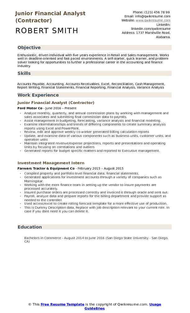Junior Financial Analyst (Contractor) Resume Format