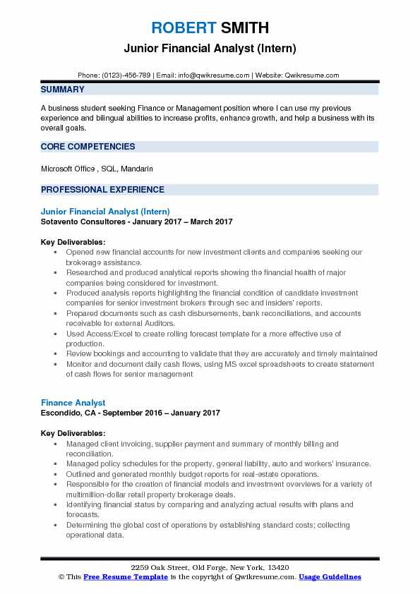 Junior Financial Analyst (Intern) Resume Template