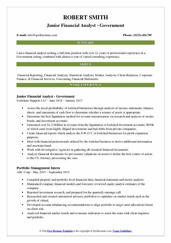 junior financial analyst government resume format