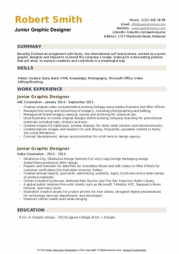 Junior Graphic Designer Resume example