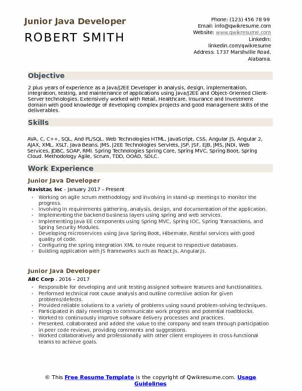 Junior Java Developer Resume Samples | QwikResume