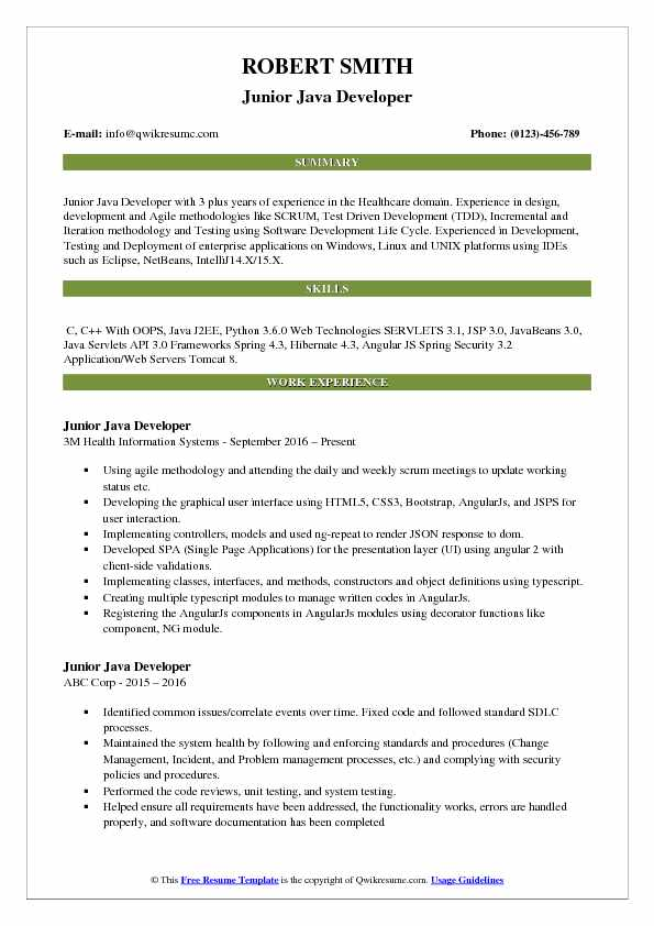 junior java developer resume samples