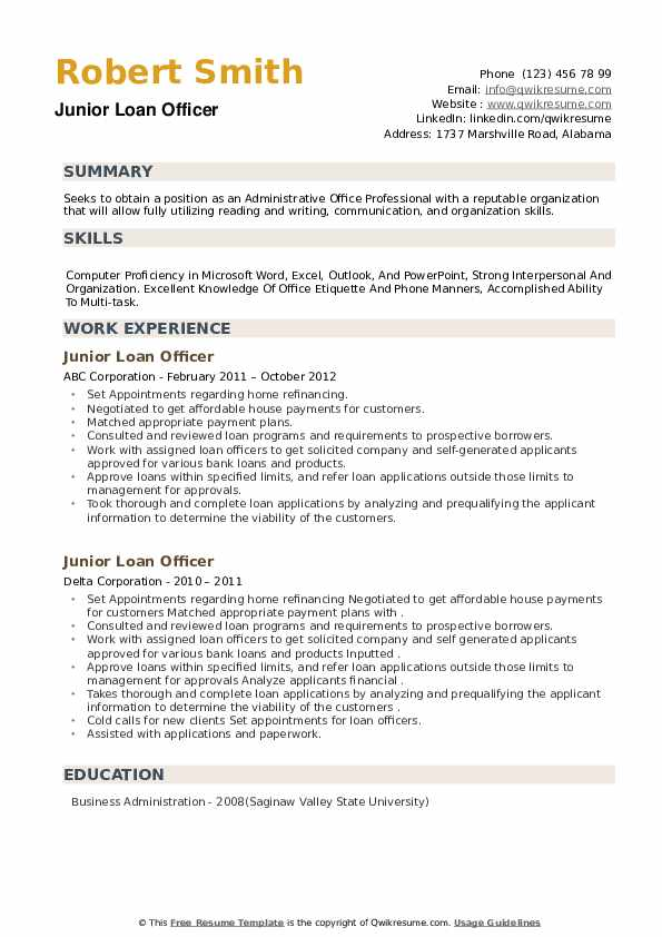 Junior Loan Officer Resume example