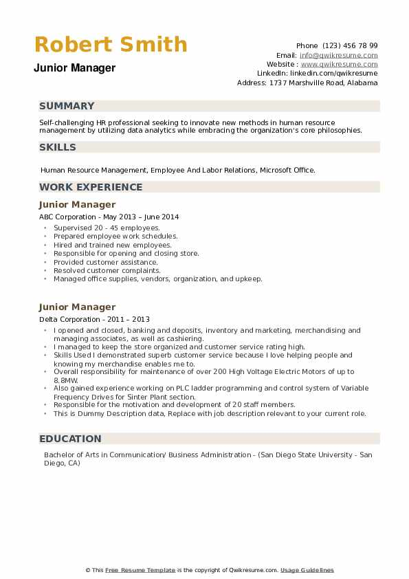 Junior Manager Resume example