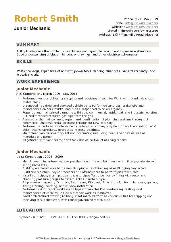 Junior Mechanic Resume example