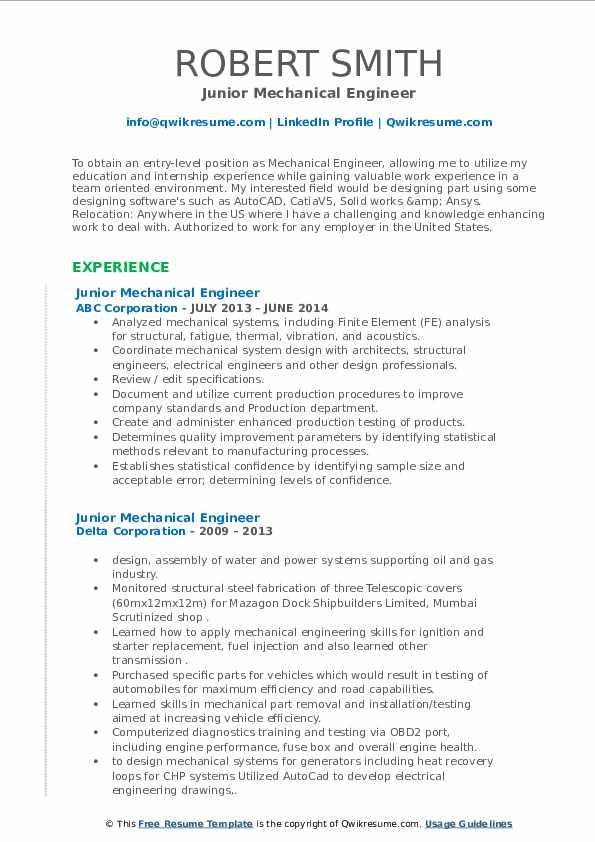 junior mechanical engineer resume samples  qwikresume