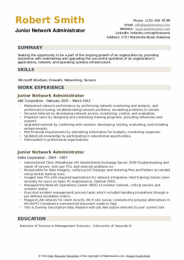 Junior Network Administrator Resume example