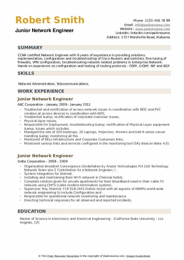 Junior Network Engineer Resume example