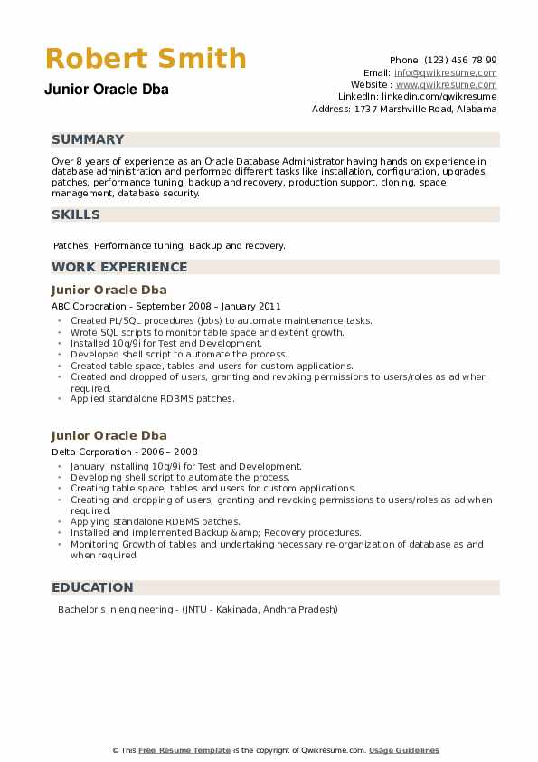 Junior Oracle Dba Resume example