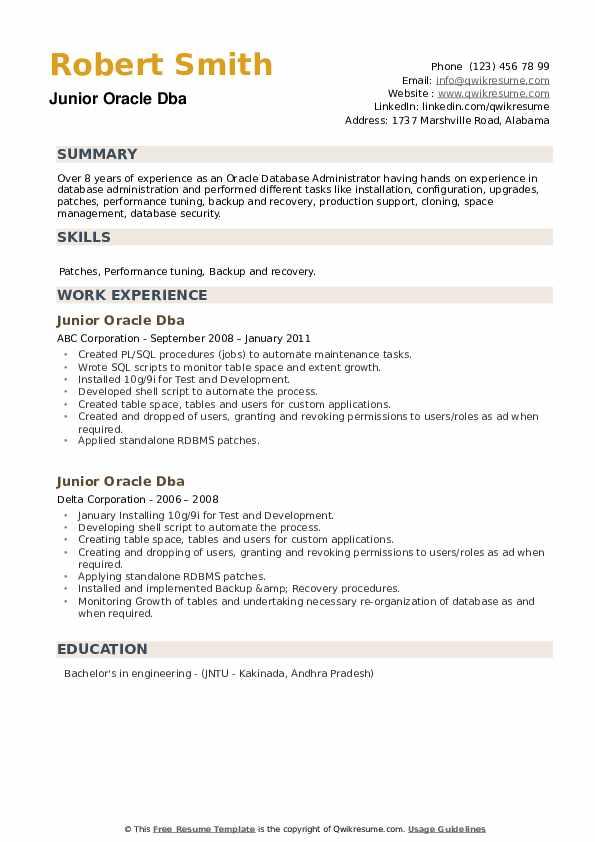 junior oracle dba resume samples  qwikresume