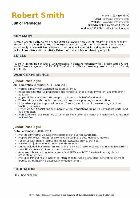 Junior Paralegal Resume example