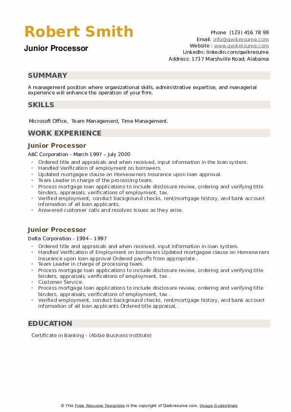Junior Processor Resume example