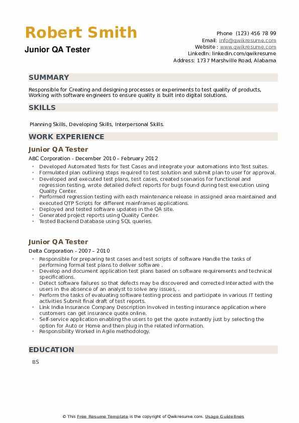 Junior QA Tester Resume example
