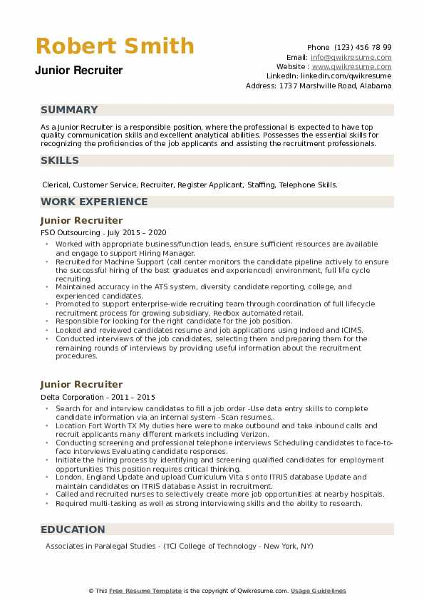 Junior Recruiter Resume example