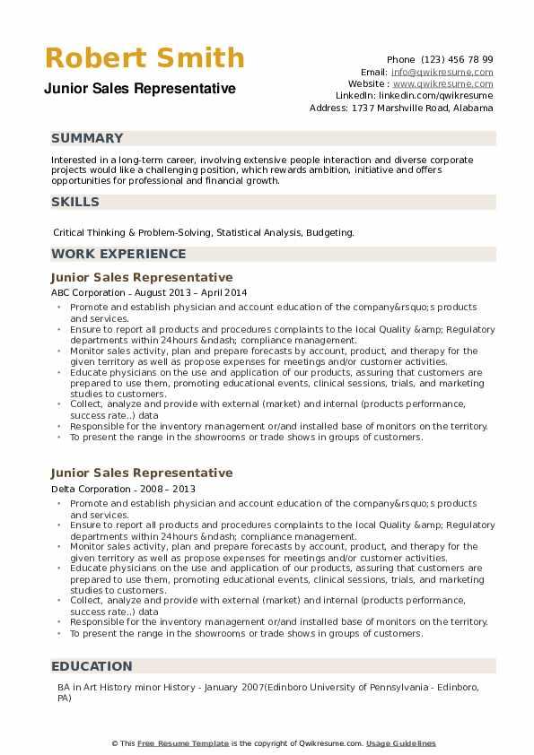 Junior Sales Representative Resume example