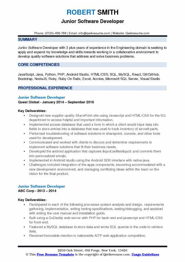 junior software developer resume samples