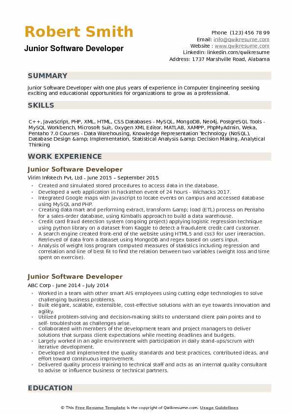 Junior Software Developer Resume Samples | QwikResume
