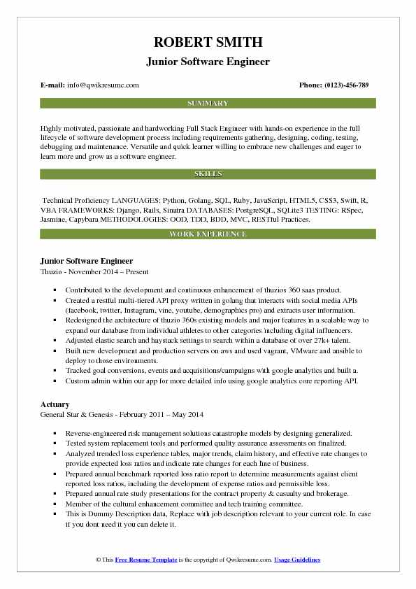 Junior Software Engineer Resume Samples Qwikresume