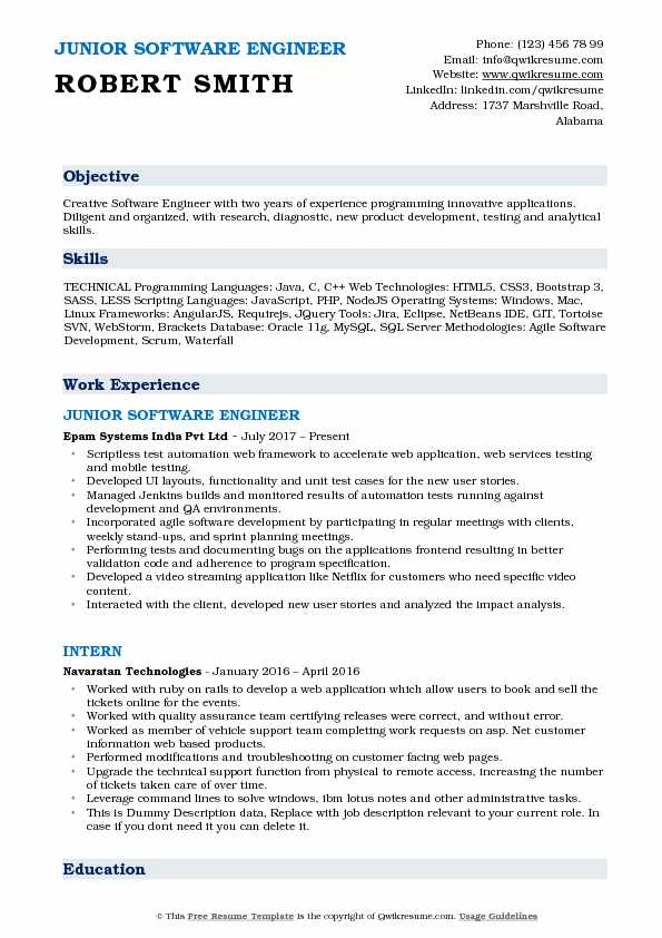 JUNIOR SOFTWARE ENGINEER Resume Sample