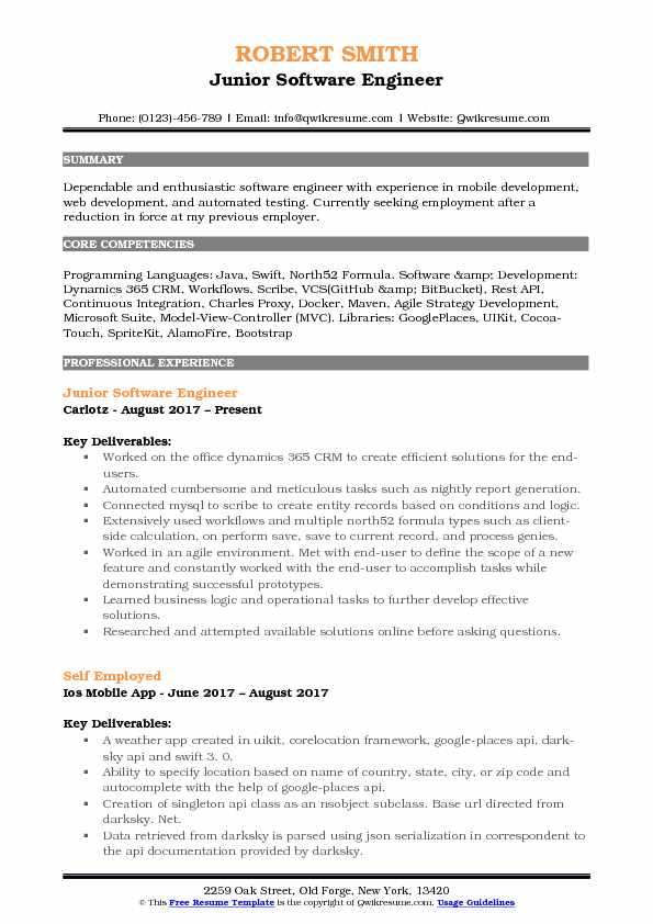 Junior Software Engineer Resume Format